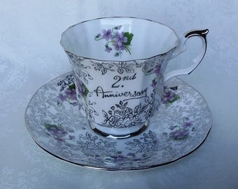 Elizabethan 2nd Anniversary Tea Cup and Saucer, Silver Chintz and Purple Flowers Teacup & Saucer, English Bone China