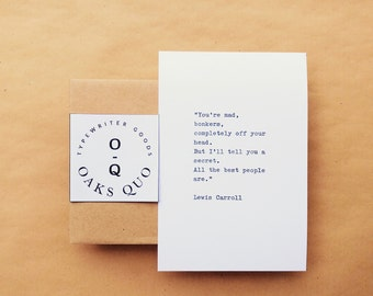 Alice In Wonderland No.1 Typewriter Quote 4x6