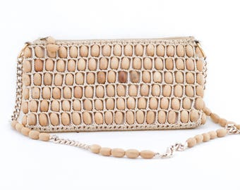 vintage wooden beaded purse | shoulder strap bag | small bag zipper | woven beads 60s 70s handbag