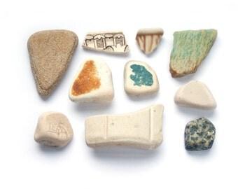 MUSTARD YELLOW + BLUE Curious sea pottery mix Stoneware ceramic White teal green brown Genuine English sea pottery Terrarium craft supplies