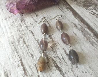 Raw Amethyst Gemstone Drop Earrings