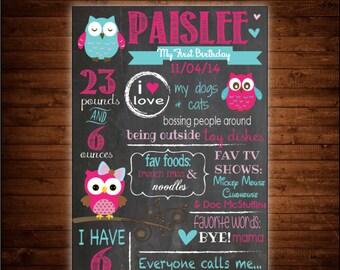 Owl Theme Chalkboard Birthday Sign
