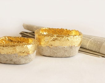 Tray handmade, paper mache bowls and leaf pair gold look, paper mache bowls
