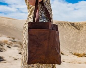 Rustic Leather Tote Bag bag - 1920's Vintage inspired Handmade bag/CarryOn/school/City/DayTrip/Adventure/Travel/Christmas/Work