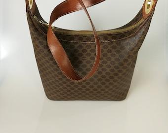 CELINE Vintage Brown Canvas and Leather Shoulder bag / Handbag