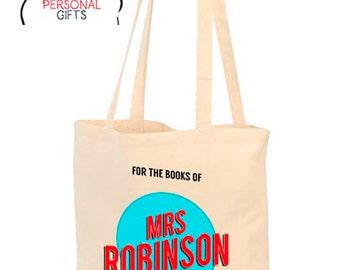Teachers Tote bag, Personalized Tote Bag, Custom Tote Bag, Personalized Bag, Book Bag, Shopping Bag, Gift for Teacher, retro style