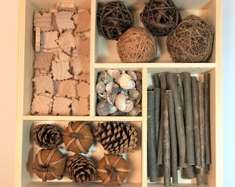 Loose Parts Kit / Reggio Inspired / Montessori / Waldorf / Preschool / Open-Ended / Sticks / Willow Ball / Wooden Leaves /Shells/Pine Cones