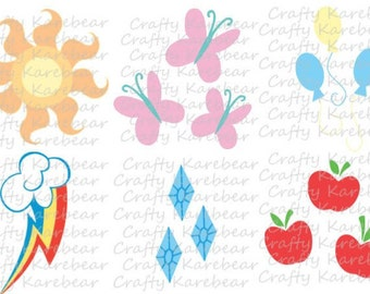 6 My Little Pony Cutie Mark SVG and DXF Digital Files Download