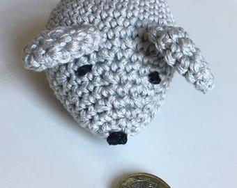 Crochet grey mouse