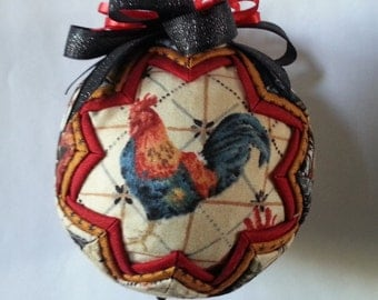 Chicken quilted ornament