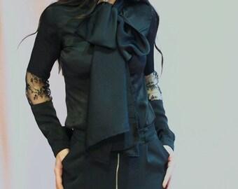 ELEGANT BLACK SHIRT/extravagant black party shirt/ ribbon party shirt/elegant black sleeve top