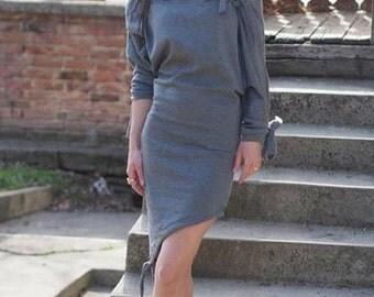 Grey asymmetric dress/asymmetric maxi dress/grey asymmetric tunic