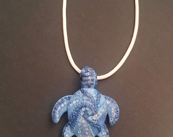 Hand sculpted blue turtle | Sea inspired clay turtle