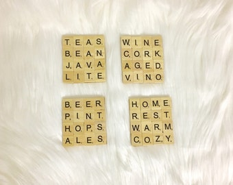 Coasters. Scrabble Coasters - Set of 4 with Cork Bottoms. Letter Coasters. Tile Coasters. FREE SHIPPING. Ready to Ship in 1 Business Day!