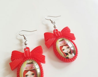 Red girly - Girly red earrings earrings for Tea