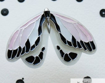 Made to order Translucent moth or butterfly design brooch made of polymer clay with imitation enamel in the pink, white, silver, black color