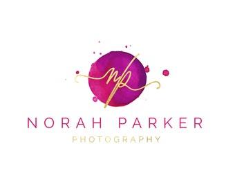 Premade Logo Design, Watercolor Circle Logo, Logo Template for Branding Gold Pink Watercolor Logo, Initials Logo, Fashion Blog Boutique Logo