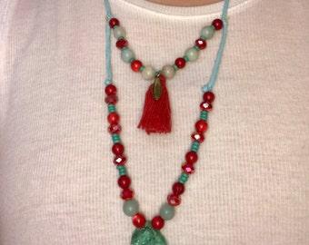 Boho Red & Aqua necklace
