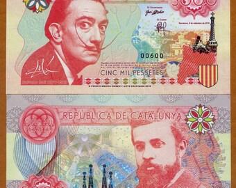Catalonia (Spain), 5000 Pessetes, 2016, Private Issue Banknote, Essay UNC > Dali, Gaudi