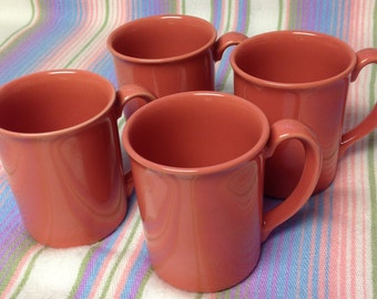 Vintage Corning Ware Salmon/Pink/Coral ~set of 4 Mugs~
