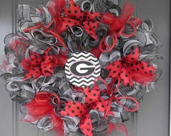 Georgia Wreath/ Football Wreath/ Door Wreath/ Hanging Door Wreath