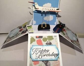 Travel pop up box card*Happy Birthday pop up*Fathers Day pop up*son pop up*Husband pop up*Have a safe journey pop up card