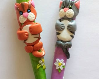 Silver and Ginger tabby cats, ergonomic polymer clay crochet hook