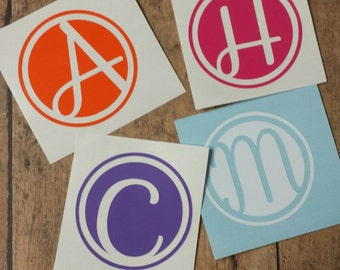 Circle Initial Decal, Yeti Decal, Car Decal, Laptop Decal
