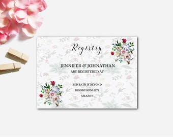 Printable Wedding Gift Registry Cards : Wedding Registry Card, Gift Registery Card Template, Printable Wedding ...