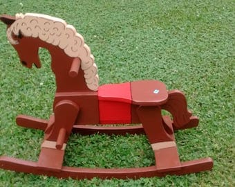 ROCKING HORSE-  Brown Painted Wood