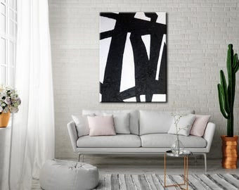 Original Large Painting Art Abstract On Canvas Black and White wall art Large Square Acrylic Painting On Canvas Minimalist Abstract Painting