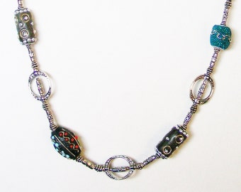 Indian Lac Beads with Silver Necklace, India, Handmade, Traditional, Ethnic