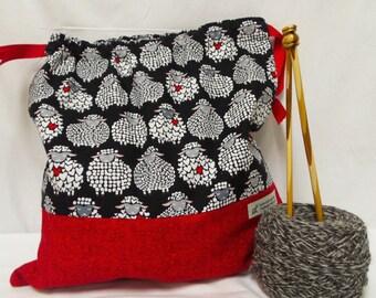 Sheep bag,  Knitting Bag, Crochet Bag, Yarn Bag, Knitters or Crochet Gift, Project Bag, Sock knitting bag