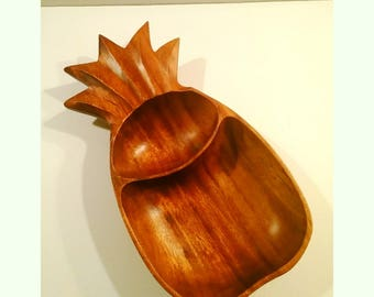 Vintage Monkeypod Wood Pineapple Bowl Chip and Dip Server Catchall