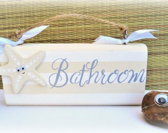 Beautiful Handcrafted Bathroom Door Plaque With Starfish. Beach, Coastal  Home Seaside Gift, Home
