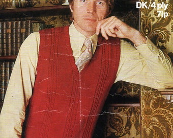 mens slipover knitting pattern PDF 4ply or DK pullover v neck Vintage 70s 38-44 inch 4 ply DK 8ply instant download