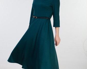 Dark green office dress Green autumn dress Dark green for office Winter dress women Jersey dress with sleeves