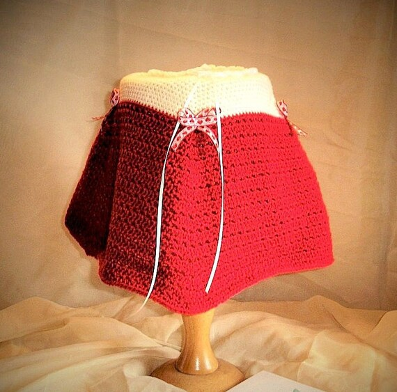 Baby Girl cosy, warm, Poncho crochete in soft cream and rose red wool. Ribbon Tie neck, Heart Ribbon detail. (Age 0-9 months)