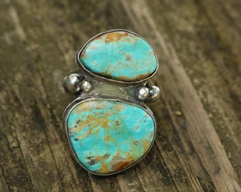 Double Fox Turquoise Ring