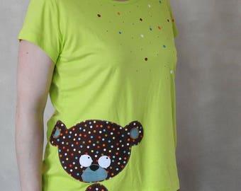 Bear Shirt - Bear T Shirt - Applique Shirt - Cute T shirt - Handpainted T Shirt - Handpained Shirt - Womens Applique T Shirt - Application