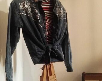 Western glitter disco denim 80's vintage denim shirt