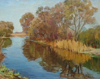 VINTAGE AUTUMN LANDSCAPE Original Oil Painting by a Soviet Ukrainian Artist Bespruzhnaya L. 1980s, Signed, Lake painting, Ukrainian Fine Art