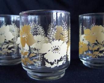 Vintage Juice Glasses with Cream Floral and Fern Decoration