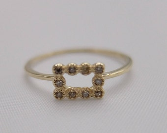 Rectangle Millgrain Dia Ring