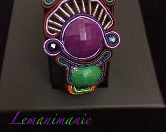 Green and purple soutache bracelet
