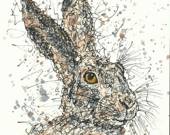 HARE HEAD, unframed signed original, ink and watercolours, scribble style, A5 (148x210 mm/5.9x8.3 inches), animal wall art