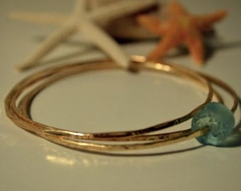 14k Gold Filled Bangle 14 gage, Made in Hawaii, Thin Stacking, Beach Bangle, LoVe iT