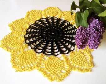 Crochet Doily Sunflower Gift idea Home Decor Living Room Decor Pineapple Doily Ukrainian Art Table Decor Table Topper Table Centerpiece
