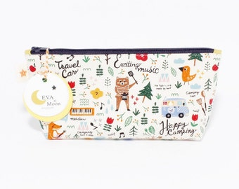 Let's go camping navy zipper pouch, Stuff storage, YKK Zipper Pouch, Gift, Toiletry Bag, Travel Bag, Makeup Bag