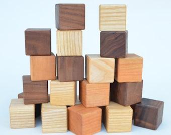 Wooden Toy Blocks - 24 Piece Wooden Blocks Building Set